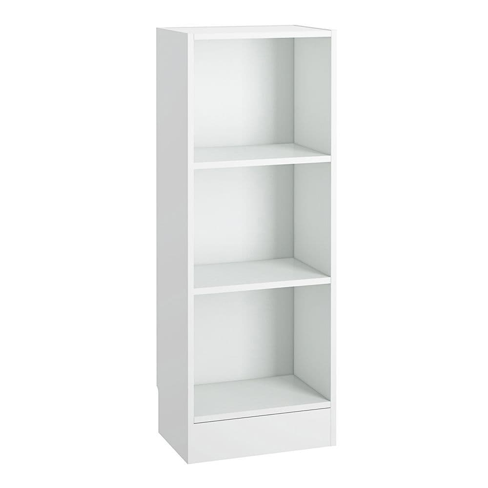 Essentials Low Narrow Bookcase (2 Shelves) in White